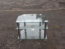 Silver metal and glass t/v Corner stand