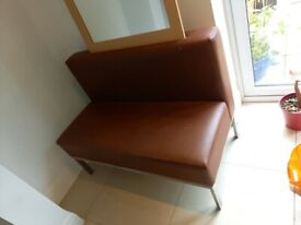 BROWN LEATHER STAINLESS STEEL BENCH