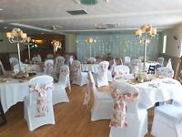 wedding hire packages chair covers, candy cart full venue decor also DIY chair covers from £1