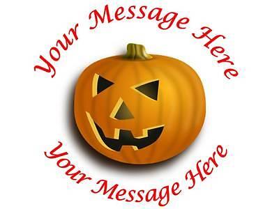 35 Personalised Halloween Stickers Pumpkin Gift Label Sticker Sweet bag Treat