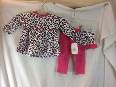 Infant Girls Sz 9M BEST BEGININGS 3 Pc Pink Animal Print Shirt W/Hat & Pants