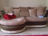 Beautiful fabric & leather trim sofa & cuddle chair