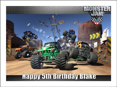 GRAVE DIGGER MONSTER TRUCKS A4 Edible Icing Birthday Cake Decoration Topper #3](Grave Digger Monster Truck Party Supplies)