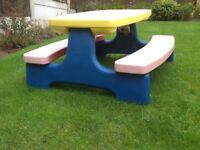 Children's garden table and bench