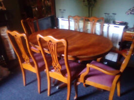 Yew Wood Dining table & 6 chairs. Full dining suite Corner Unit & more Sideboard Project FURNITURE?
