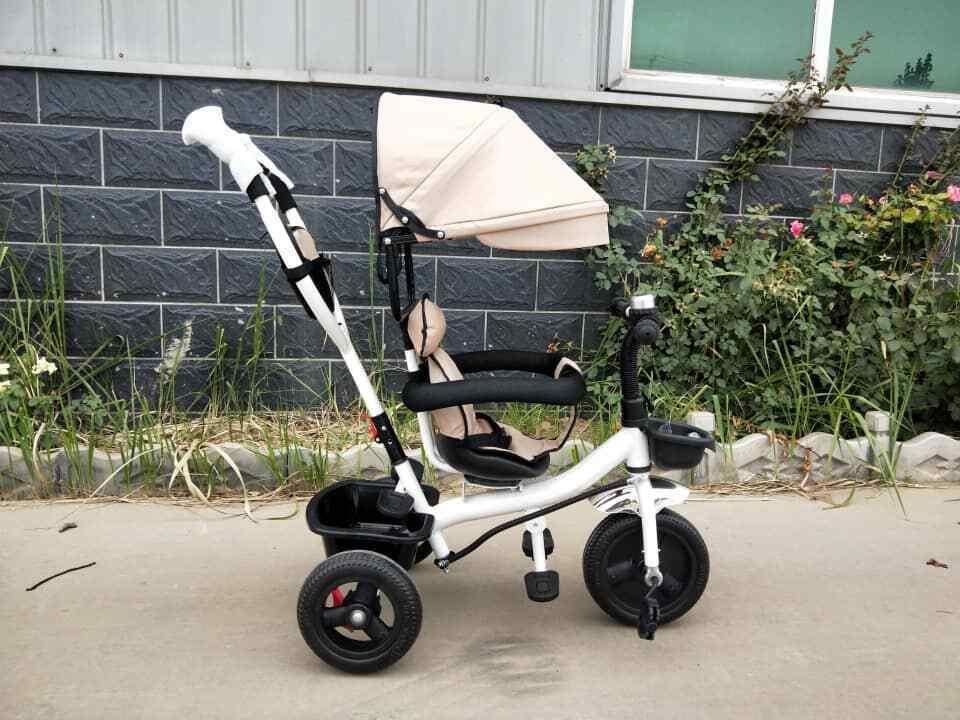 4 in 1 Dreirad Kinderwagen Tricycle für Kinder Weiss/Beige