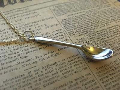 """SILVER Spoon Alice Necklace Tea Party Necklace Pendant Chef Spoonie Novelty 18"""""""