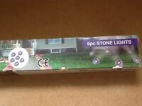 6pc garden stone lights, never used