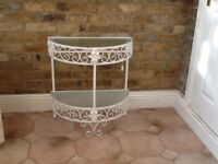 1960's wrought iron and glass half moon table