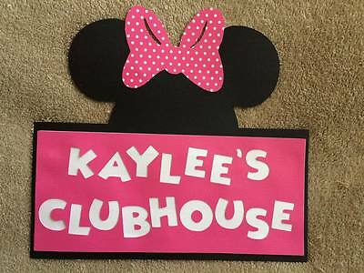 Personalized Minnie Mouse Clubhouse door sign. Great for Birthday Parties (Minnie Mouse Birthday Decorations)