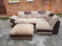 Superb BRAND NEW brown and beige jumbo cord corner sofa and footstool,couple marks ,can deliver