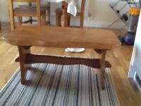Hand crafted solid pine coffee table. 92cm x 55cm x 44cm h