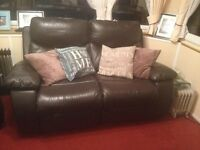 Leather Recliner Sofa (2 Seater) and Chairs 18mth old Cost £2000 BARGIN £400 ono.EXCELLENT condition