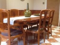 HARDWOOD TABLE AND CHIRS