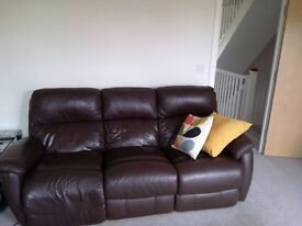 Electric recliner Leather Sofas Matching 2 and 3 Piece plus Footstool/ Storage Unit £250 ono