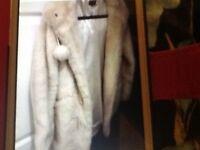 Top shop cream fur coat v g c size 10