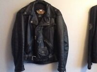 2-Harley Davidson jackets- 1 leather patrol jacket/1 lightweight jacket