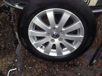 Genuine VW GOLF PASSAT 16 Alloy Wheels 4 tyres come used but plenty tread left ALL MOST NEW TYRES