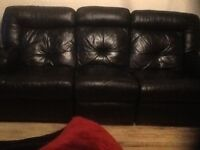 Large black leather reclining 3 seater settee and 2 armchairs