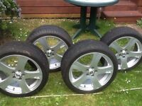 Set of 4 OZ rims and tyres for Golf , Audi 5 stud pattern