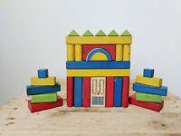 Vintage Children's wooden Building Blocks In Presentation Tray