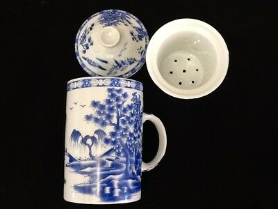 Chinese Porcelain Tea Cup Handled Infuser Strainer w Lid 10 oz Blue Scenery