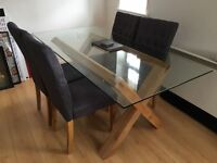 Solid Oak + THICK Glass Dining Table + 4 Chairs - Cost £700 from Cargo Homeshop 1 Year Old