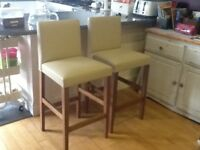 Two cream bar/ breakfast chairs