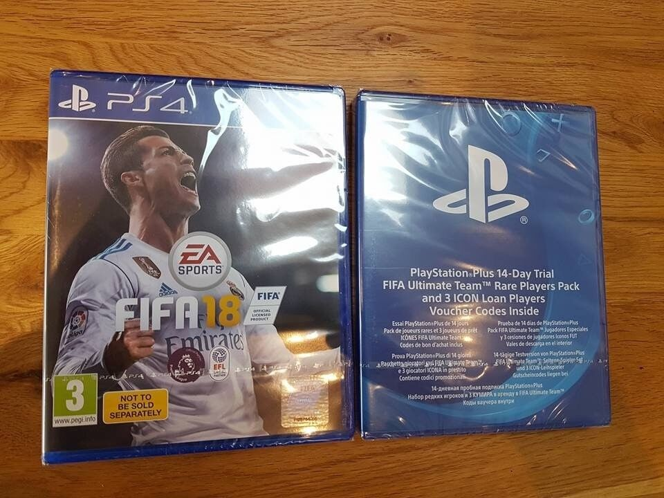 Brand New Sealed FIFA 18 PS4 + 14 Day FIFA Ultimate Team Trail Pack