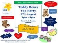Teddy Bears Tea Party Marie Curie Hospice Penarth Holme Towers 27 August 1-5