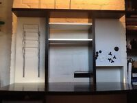 Large Ikea Desk with shelves and whiteboard (Black)
