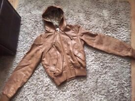 Womens Primark tan leather look Jacket size 8