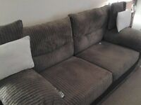 Brown corderouy 2 seater settee,