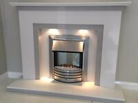 Havens Marble Fireplace in Grey and White Marble (Free Local Delivery)