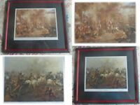 Military framed pictures of scenes at the battle of Waterloo