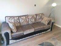 Grey 3 seater sofa and cuddle chair
