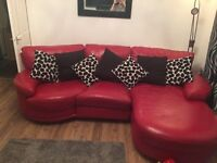 Red leather chaise/corner sofa and electric recliner chair