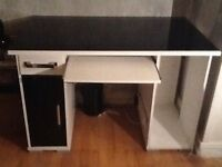 GLASS TOP COMPUTER/OFFICE DESK, DRAWER & CUPBOARD, PULL OUT KEYBOARD SHELF