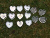 Various wedding bits. Heart candles, large bag of tea light, 6 pom-poms.hessian.