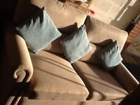 Sofa Three Seater And Matching Chair Brown Fabric Like Next Oakley