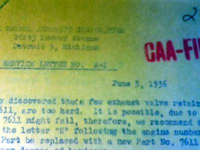 Original Warner Engines Service Bulletins A-1 thru A-17 from CAA
