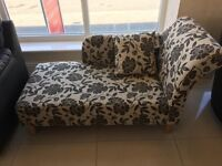 Brand New Black Floral Fabric Chaise Longue
