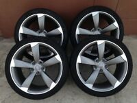 4x 19inch genuine Audi TTS Rs6 Black edition Rotor Arm alloys wheels and tyres will fit a4 a5 a6 q5
