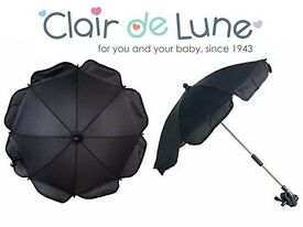 Clair de Lune Universal Pushchair Buggy parasol Umbrella Black Red Pink White NEW With Clamp
