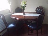 Italian style dining table and 4 chairs