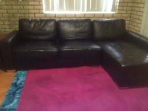 Can deliver- 3 seater Leather lounge with chaise- can deliver reduced Springwood Logan Area Preview