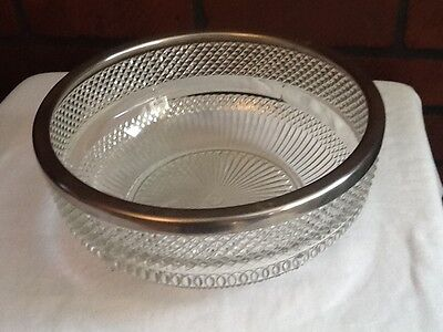 Vintage Cut Glass Bowl with Silver-Plate Rim - England