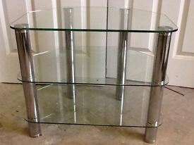 60 CM CLEAR GLASS STAND CHROME LEGS