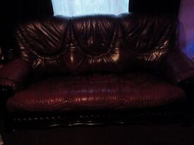 Free leather 3 seeter sofa and 1 armchair.