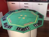 Excellent condition Texas Holdem Folding Poker Table Top with chips